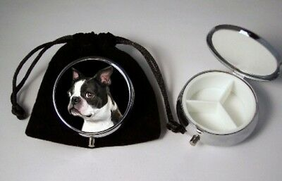 Boston Terrier Dog Breed Pill Box 3 compartments with black velour pouch