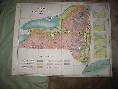 Antique 1941 New York & City Long Island Geological Physical Map Mountain Height