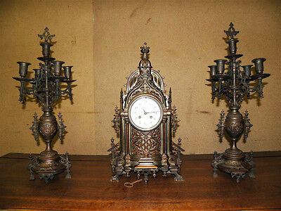 Antique Bronze Gothic Mantel Clock with Matching Candelabras,French 19th Century