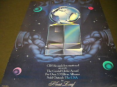 MEAT LOAF Crystal Globe Award 1981 PROMO POSTER AD mint condition