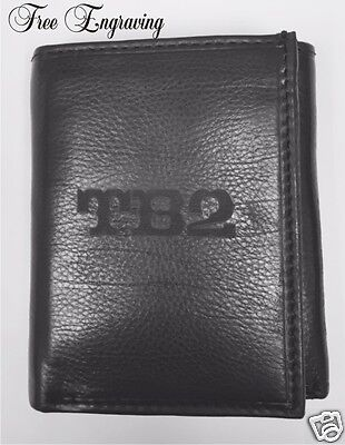 Personalized Mens Black LeatherTrifold Wallet Deluxe Engraved Monogram Best Man