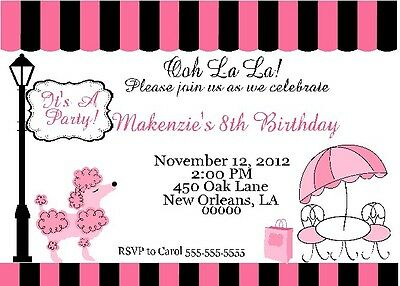 10 Pink Paris Poodle - Birthday Party Invitations