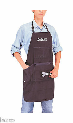 IceToolz C153 Bicycle Pro Shop Apron Black Heavy Duty Fabric  With 1 Zip Pockets