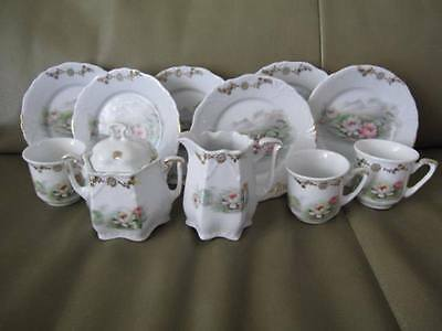 ANTIQUE GERMAN CHILDREN'S KIDS' DISHES 12 PCS Marked GERMANY Water Lilies GOLD