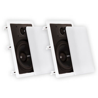 """Theater Solutions CS8W In Wall 8"""" Speakers Home Theater Surround Sound Pair"""