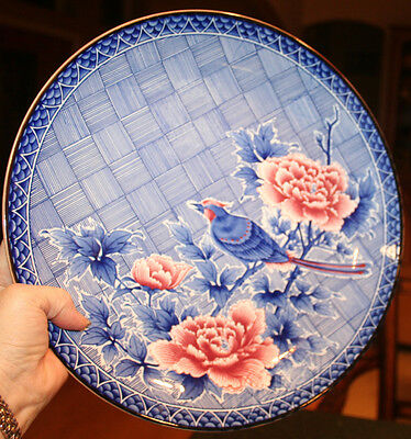 """Lovely 12.5"""" Blue Japanese Porcelain Plate w/ Bird & Red Poppies or Blossoms"""