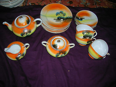 19 PIECES OF VINTAGE MADE IN JAPAN ORIENTAL HAND PAINTED CHINA