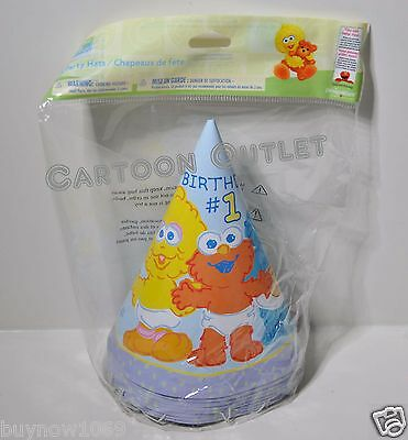 Elmo Party Hats 16 Pcs Supplies Bigbird Cookie Monster 1St Birthday Sesame