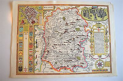 Lovely Vintage Replica  John Speed Map Of Wiltshire Circa.1610 Stone Henge