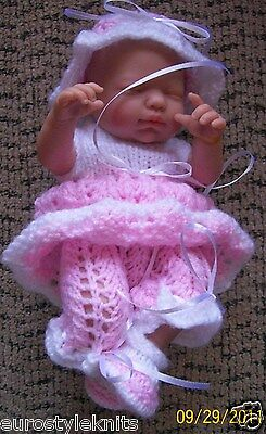 """Doll Clothes Pink and White Hand Knitted baby set Fit So Truly Real 10"""" 11"""""""