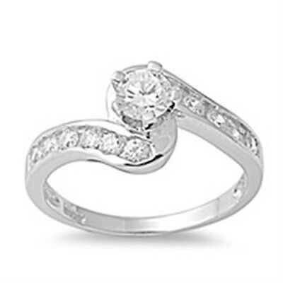 925 Sterling Silver Round Clear CZ Curved Abstract Elegant Design Ring Size 3-11