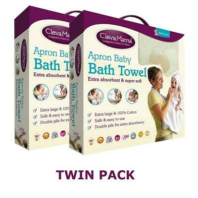 Clevamama Splash & Wrap Baby Bath Towel (Cream) TWIN PACK