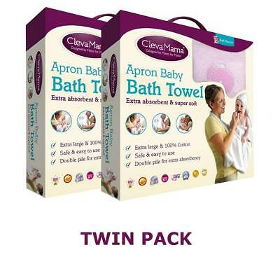 Clevamama Splash & Wrap Baby Bath Towel (Pink) TWIN PACK