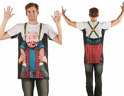 FAUX REAL SUBLIMATION PIGGY BACK RIDE PIG COSTUME OUTFIT T SHIRT TEE S-2XL