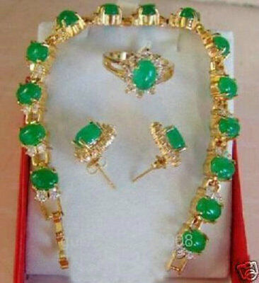 Beautiful Inlay Green Jade & Crystal Bracelet Earring Ring Sets