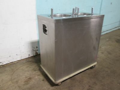 """"""" A M F """" MOBILE HEATED 10"""" DUAL PLATE  S.S. DISPENSER/CARRIER/CART ON CASTERS"""