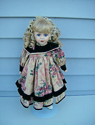 """Paula 17"""" Porcelain Doll w/Stand Great Western Trading Co Blonde Blue Eyes"""
