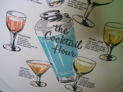 """Awesome Vintage Drink Tray """"The Coctail Hour"""" with Recipe's Ornamin Ware"""