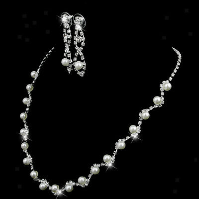 White Pearl Silver Crystal Necklace Drop Earrings Bridal Wedding Jewelry Set