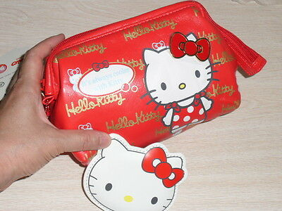 Hello Kitty makeup bag Cosmetic bag Multipurpose Pouch case with pocket mirror