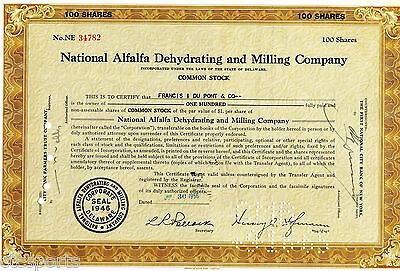 1956 National Alfalfa Dehydrating & Milling Co. (100 Shares) Stock Certificate
