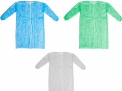 5 Medi-Inn Disposable Quality Visitors Lab Coats Protective Non Woven Gown NEW