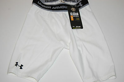"""under armour heat gear boys youth small ua fitted hg 7"""" short white"""