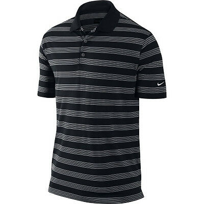 nike mens prior generation victory stripe golf polo black w/ performance dri-fit
