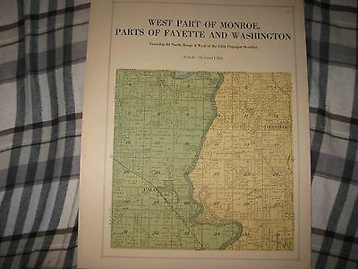 ANTIQUE 1921 FAYETTE WASHINGTON MONROE TOWNSHIP LINN COUNTY IOWA MAP PALO NR