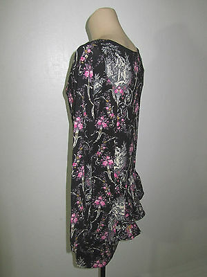 NEW TAG BETSEY JOHNSON SEXY BLACK VICTORIAN FLORAL STRETCH RUFFLE DRESS L macy's