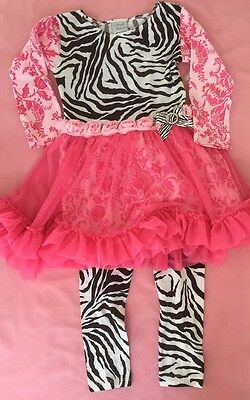 Girls Boutique 4 4T Haute Baby Tulle Ruffle Pink Zebra Outfit Leggings NEW NWT