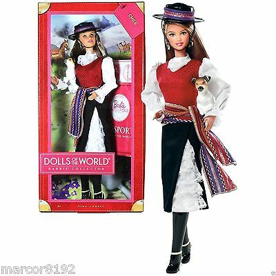 Barbie Dolls of the World Chile W/ Passport and Pet Dog Pink Label Collection
