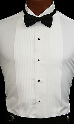 New Mens White Pleated Tuxedo Shirt Laydown or Wing Collar Prom Wedding Formal