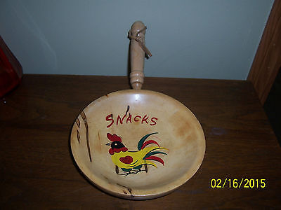 Vintage RETRO NEVCO FINEST JAPAN Wood Snack Bowl Rooster WALL HANGING
