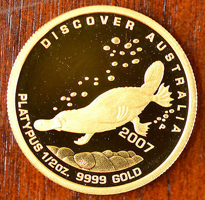 2007 Australian Perth Mint 99.99% Gold Proof Platypus Bullion Coin 1/2 oz $ 50