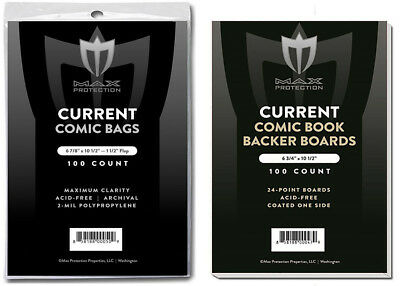 300 Max Pro Current Modern Age Comic Book 2-Mil Bags +Acid Free Backer Boards