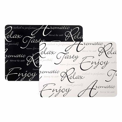 Price & Kensington Script Black & White Placemats Set Of 4