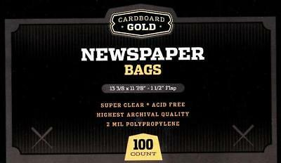 (100) Cbg Collectible Newspaper Soft Clear Poly Bag Storage Protection Sleeves
