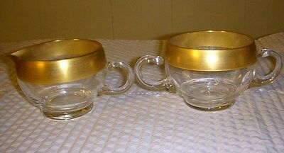 "DOROTHY THORPE GLASS CREAMER & SUGAR SET ""GOLD  BAND"""