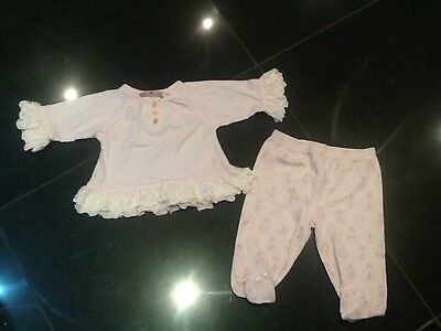 Juicy Couture New & Genuine Baby Girls Pink Two Piece With Juicy Logo 3/6 MTHS