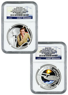 2015-P Tuvalu 1 Oz Colorized Silver Star Trek 2-Coin Set NGC PF70 UC ER SKU34958