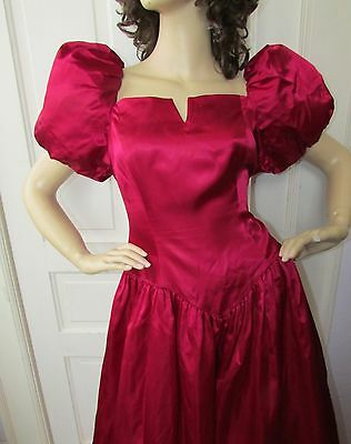 Vtg 80s Maroon PUFF Sleeves Bridesmaid Full Swing Cocktail PROM Party Dress 14