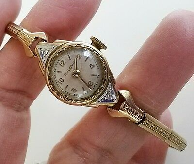 Bulova 10K Gold Filled 6AZ Art Deco Ladies 17J Wrist Watch Diamond Accents -TLC!