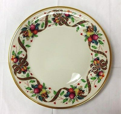 "LENOX ""HOLIDAY TARTAN"" DINNER PLATE 10 3/4"" IVORY BONE CHINA NEW MADE IN U.S.A."
