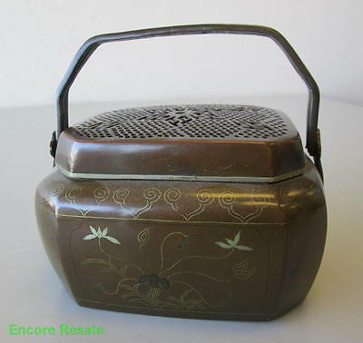 Antique Double Handled Copper Brass Inlay Hand Warmer Incense Burner Pierced Lid