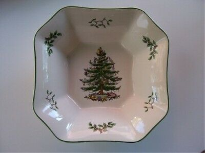 "Spode Christmas Tree Square Salad Bowl 9.5"" New Without Box"