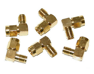 6 Lot Right-Angle 90 Degree SMA Male to Female Gold Plated Adapter for Ham Radio