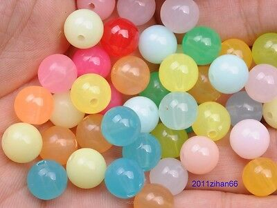 Acrylic Plastic Mixed Candy color Round Ball Loose Spacer Beads 6mm 8mm 10mm