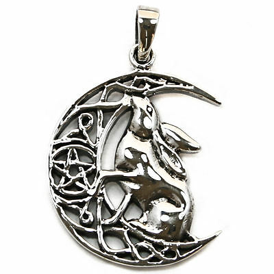 .925 Solid Sterling Silver Moon Gazing Hare Wiccan Pentagram Pendant P067