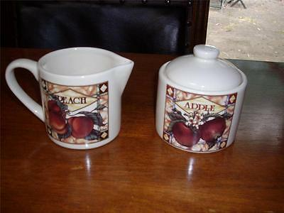 Milk Jug And Sugar Bowl Set Fruit Theme Beige - New Without Tag